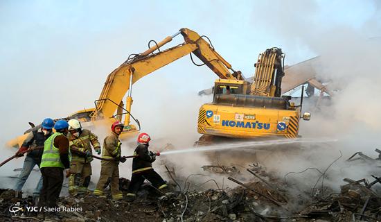 هفتمین روز حادثه پلاسکو/ آتش نشانان همچنان در جستجوی مفقودان/احراز هویت 6 جانباخته حادثه پلاسکو