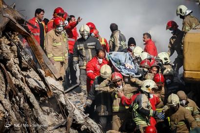 هفتمین روز عملیات امداد و نجات در ساختمان پلاسکو