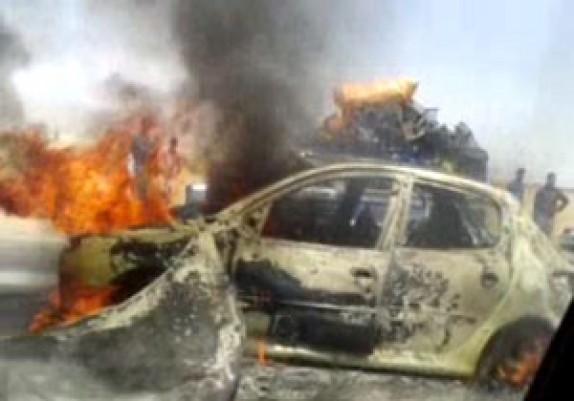 باشگاه خبرنگاران - آتش گرفتن خودروی پژو ۲۰۶ در خرم آباد