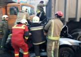 باشگاه خبرنگاران -برخورد زنجیره ای 8 خودرو در بزرگراه بسیج/ راننده 30 ساله به شدت مصدوم شد + تصاویر