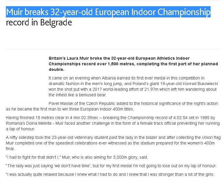 رکورد دوی 1500 متر زنان پس از 32 سال شکسته شد