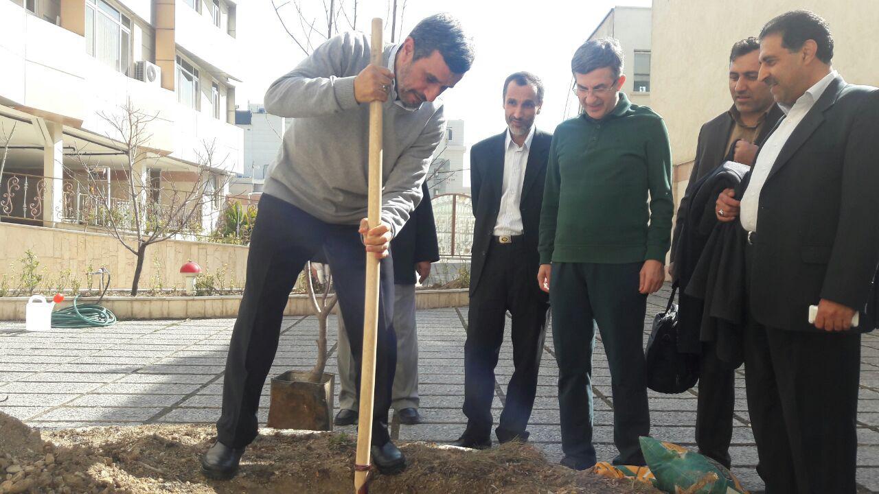 مراسم روز درختکاری با حضور احمدی نژاد، مشایی و حمید بقایی + فیلم و تصاویر