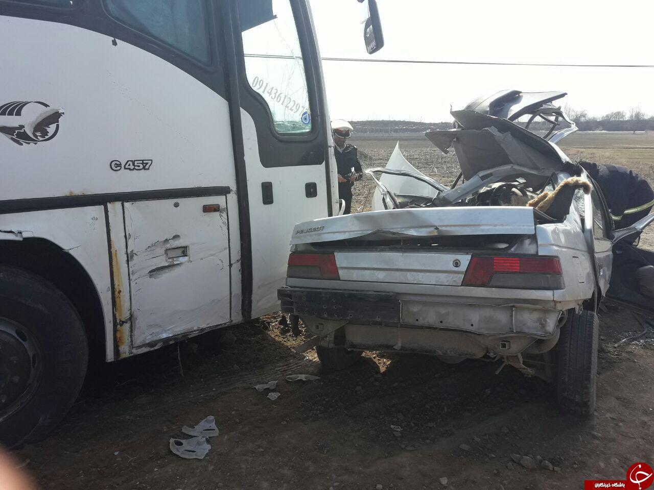 اتوبوس پژو را له کرد! + تصاویر