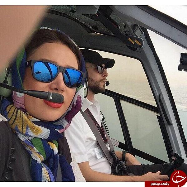 سلفی بهاره افشار در کابین خلبان +عکس