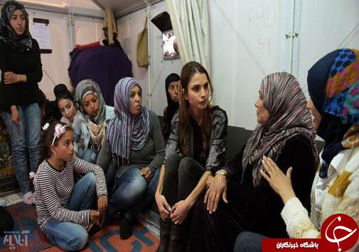 عکس: ملکه اردن در میان پناهجویان