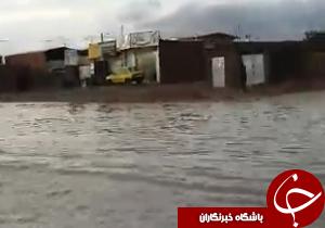 شهروندخبرنگار:تشکیل دریاچه در شهر تنها با یک ساعت بارش باران! + فیلم