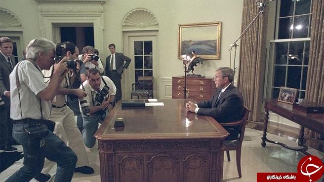 تصاویر نادیده از واکنشهای جورج بوش پس از اعلام حادثه 11 سپتامبر