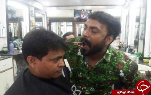 آرایشگری که با دهان مو کوتاه میکند