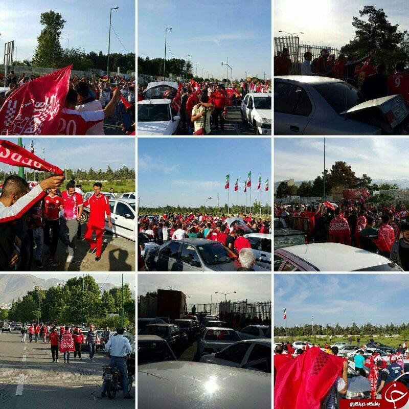 هواداران پرسپولیس پشت درب ورزشگاه آزادی + عکس
