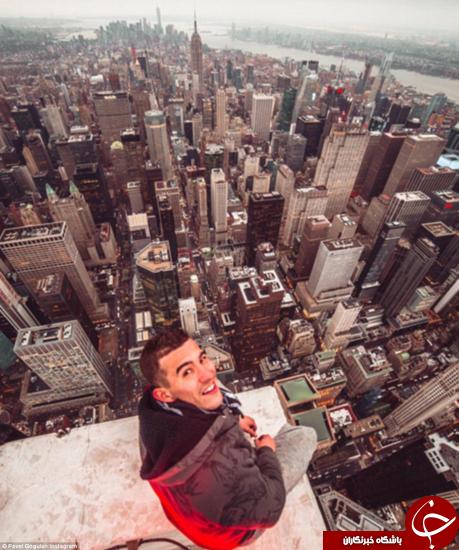 تصاویری از مرد بیباک روسی لبه آسمان خراش نیویورک