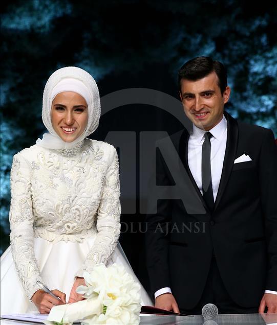 ازدواج «نور چشم» اردوغان در استانبول/ توصیههای پدرانه رئیس جمهور ترکیه به عروس و داماد+ فیلم و تصاویر