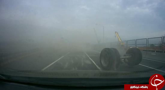 لحظه چپ کردن تریلر کامیون + تصاویر