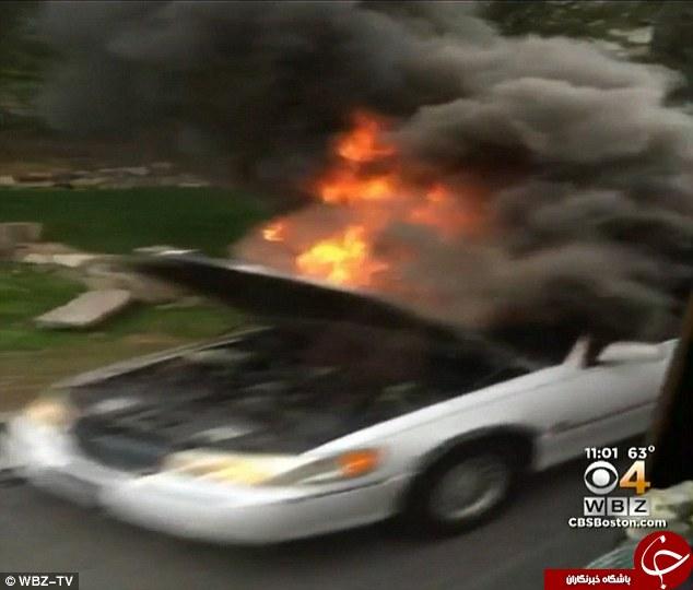 سوختن خودروی لوکس لیموزین در آتش + تصاویر/ در حال کار