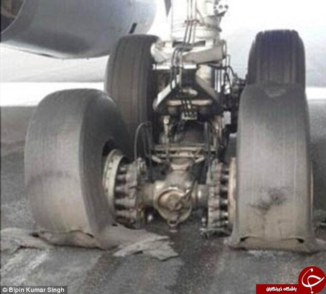 ترکیدن لاستیک هواپیما اینگونه است+تصاویر