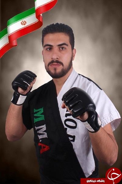 بوکسور ایرانی با پرچم یا حسین روی رینگ آمریکایی ها + فیلم