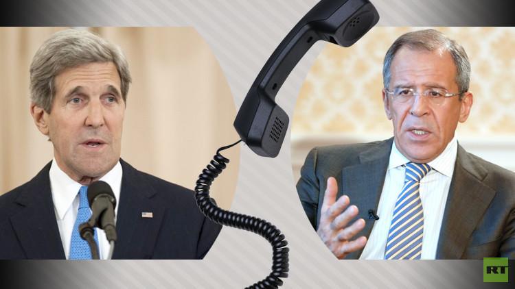گفتگوی تلفنی لاوروف و کری در خصوص حل بحران سوریه