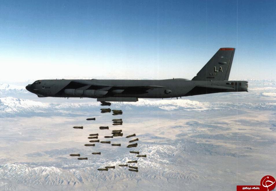انهدام انبار تسلیحات داعش با بمب افکن B-52 آمریکا+ تصاویر