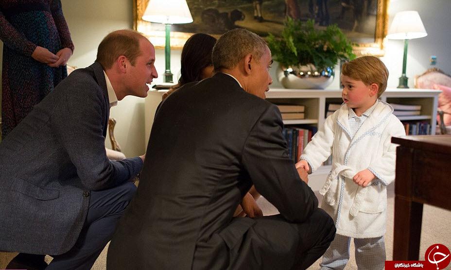 استقبال نوه دوساله ملکه انگلیس از اوباما + تصاویر