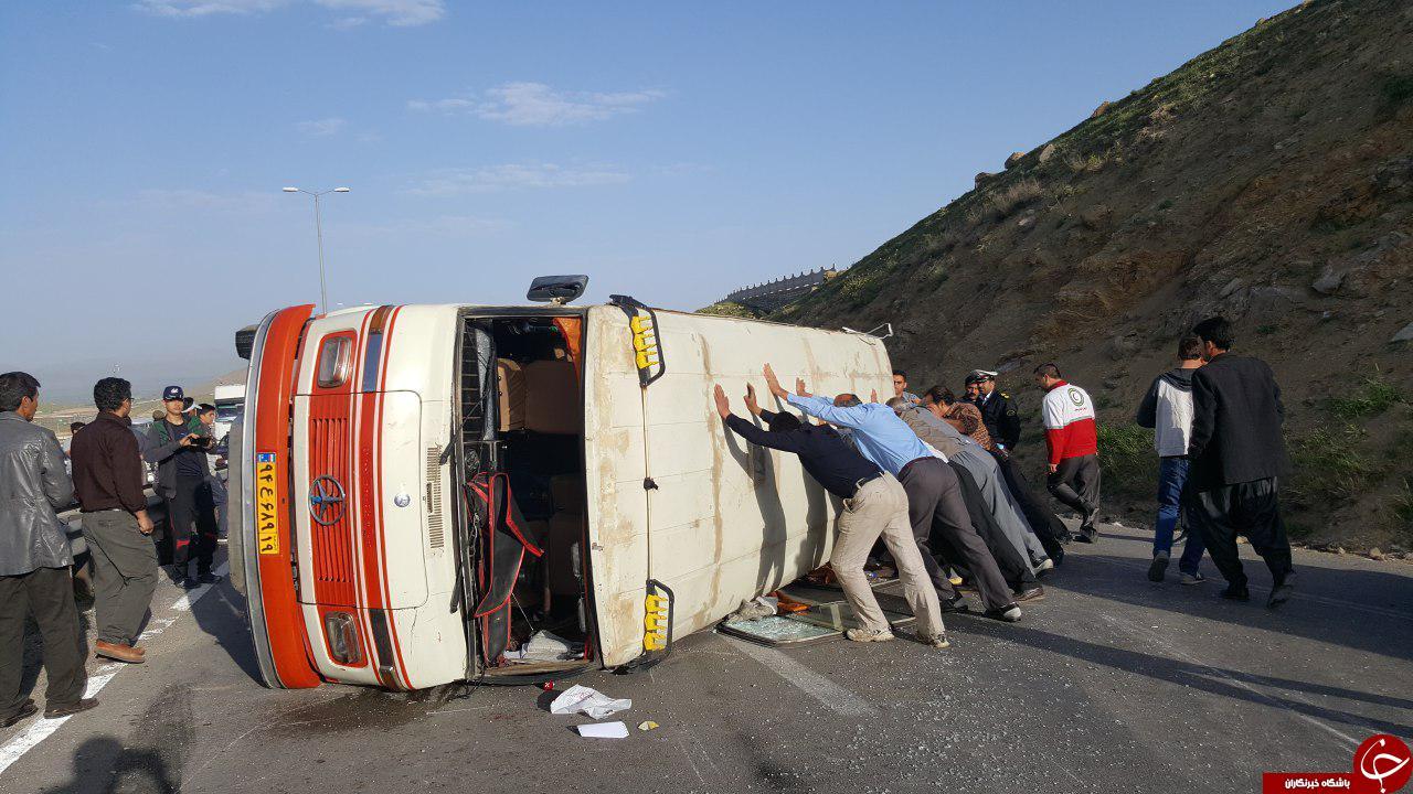 واژگونی مینی بوس حادثه آفرید + تصاویر