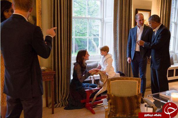 دیدار اوباما با کوچکترین شاهزاده انگلیس در اتاقخواب +تصاویر