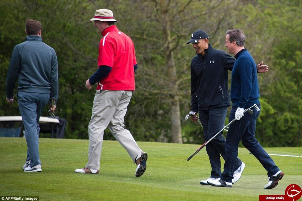 اوباما و دیوید کامرون به میدان رقابت بازی گلف رفتند+ تصاویر