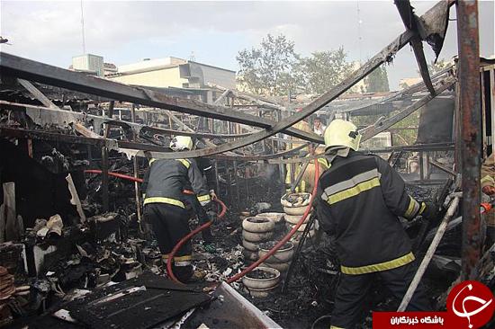 انبار بزرگ اوازم بهداشتی خیابان ملاصدرا در آتش سوخت+تصاویر