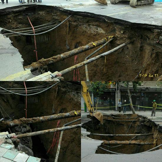 4561859 426 نشست زمین در خیابان مولوی/ ممنوعیت وارد شدن وسایل نقلیه + تصاویر