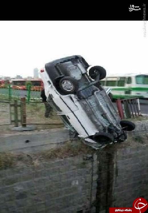 عکس/ پرایدی که سقوط نکرد
