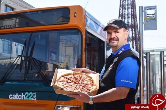 تحویل پیتزا در اتوبوس + تصاویر