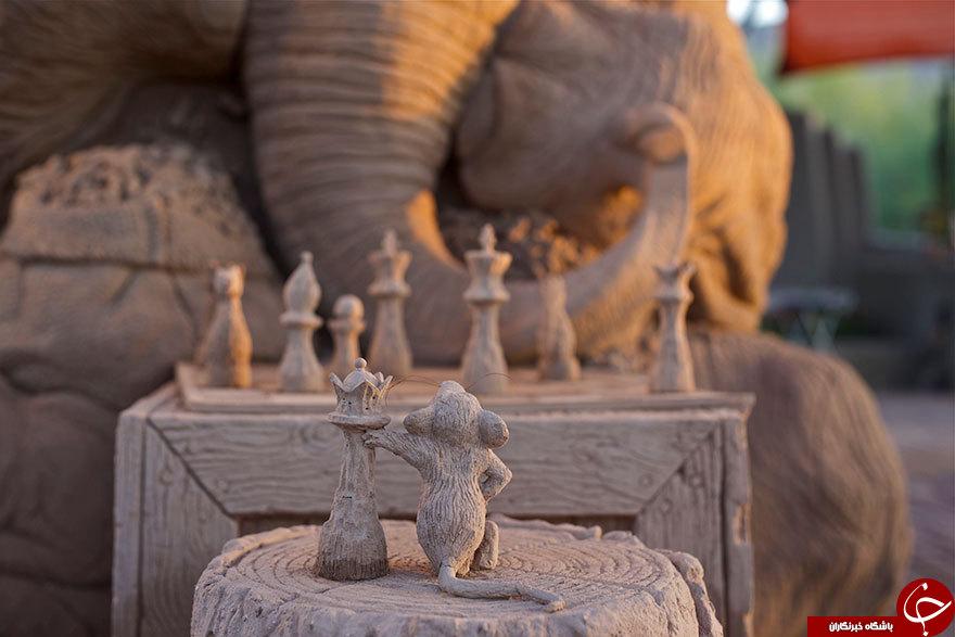 وقتی فیل وموش باهم شطرنج بازی می کنند+تصاویر