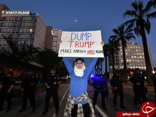 مخالفان و هواداران ترامپ با مشت و لگد به جان هم افتادند