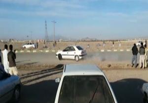 حرکات نمایشی خطرناک با خودرو در شهرستان خاش + فیلم