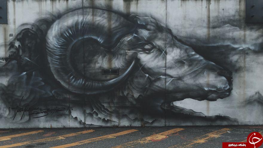 خشم حیات وحش روی دیوارهای چین+تصاویر