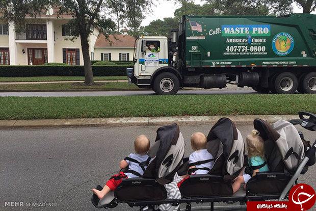 سه قلوهایی که با ماشین آشغالی دوست شدند!