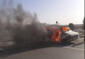 آتشسوزی پیکان در اتوبان تهران - قم + فیلم