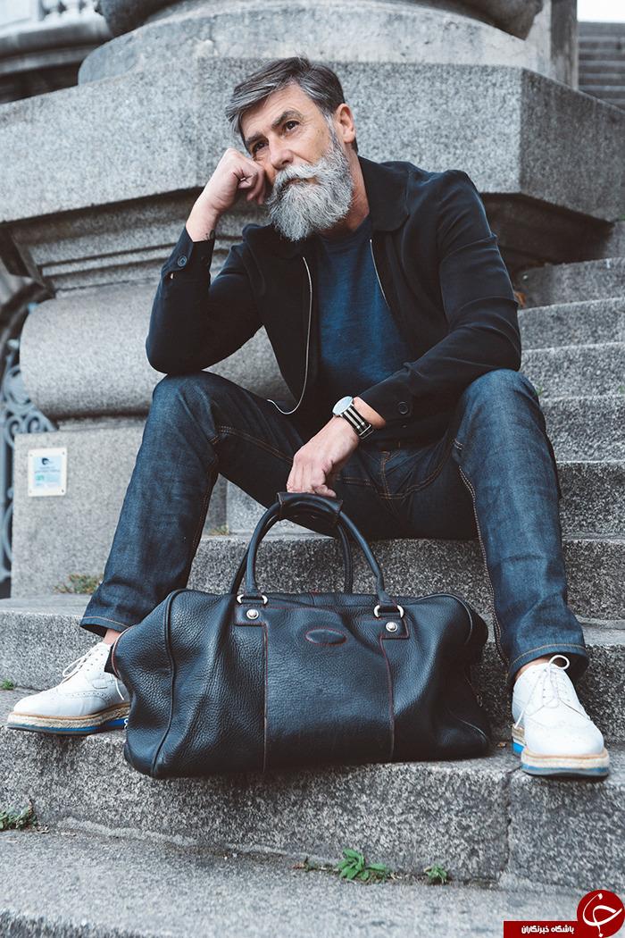 پیرمردی که به خاطر ریش هایش مدل شد+عکس