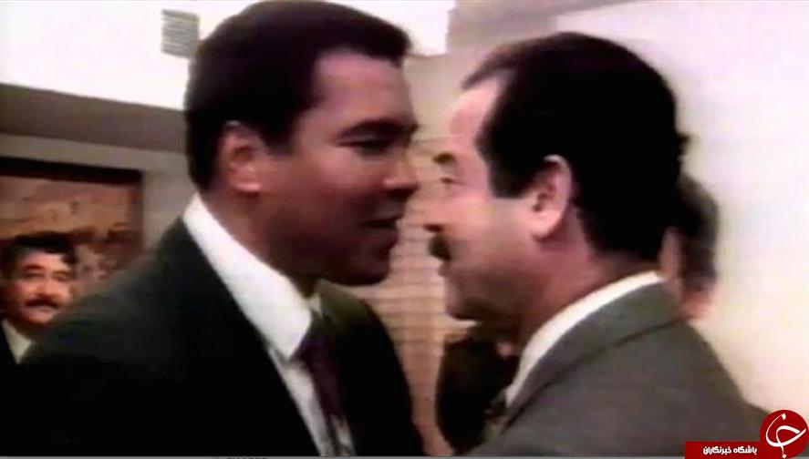 محمد علی کلی در آغوش صدام/ هدیه دیکتاتور عراق به کلی چه بود؟+تصاویر