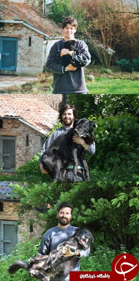 عکسهایی که بزرگ شدن پسر و سگ و جوانی عشق آنها را نشان میدهد + تصاویر
