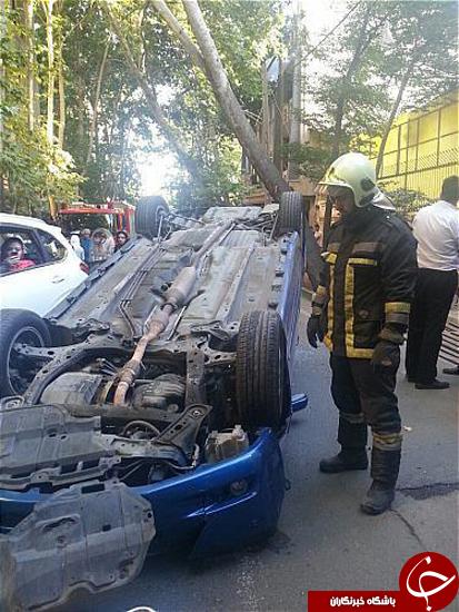 واژگونی خودرو سواری در محله دروس+تصاویر
