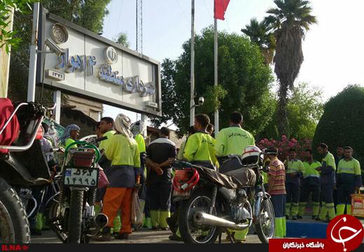 اعتراض کارگران شهرداری منطقه 4 اهواز / بازداشتیها آزاد نشدند