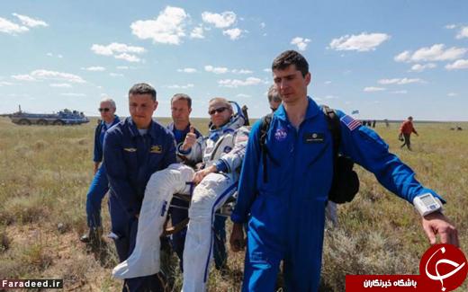 عکس/ لحظه بازگشت 3 فضانورد به زمین