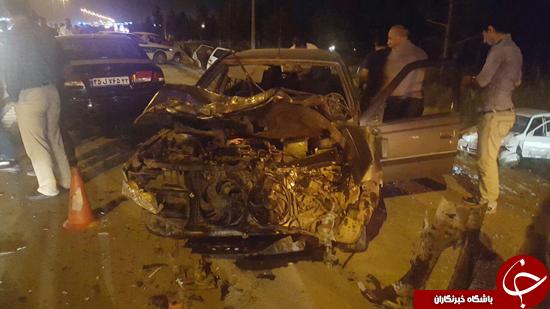 واژگونی نیسان حامل میوه در بزرگراه تهران-قم/ 8 مجروح روانه بیمارستان شدند+تصاویر