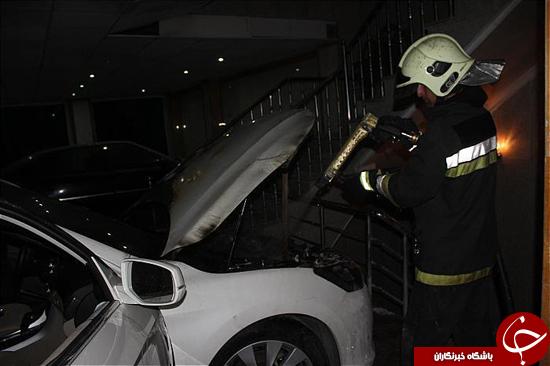 آتش سوزی خودرو سواری در پارکینگ ساختمان