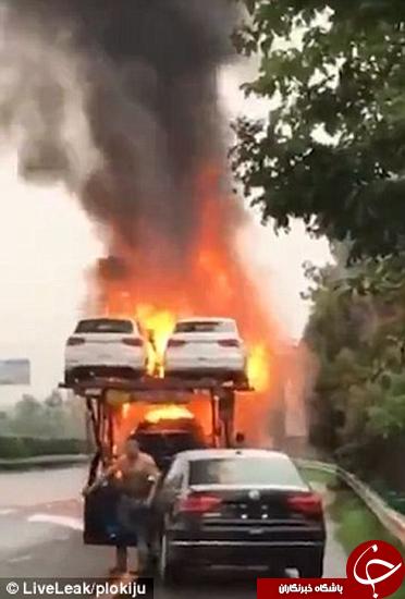 راننده شجاعی که ماشین را نجات داد +تصاویر