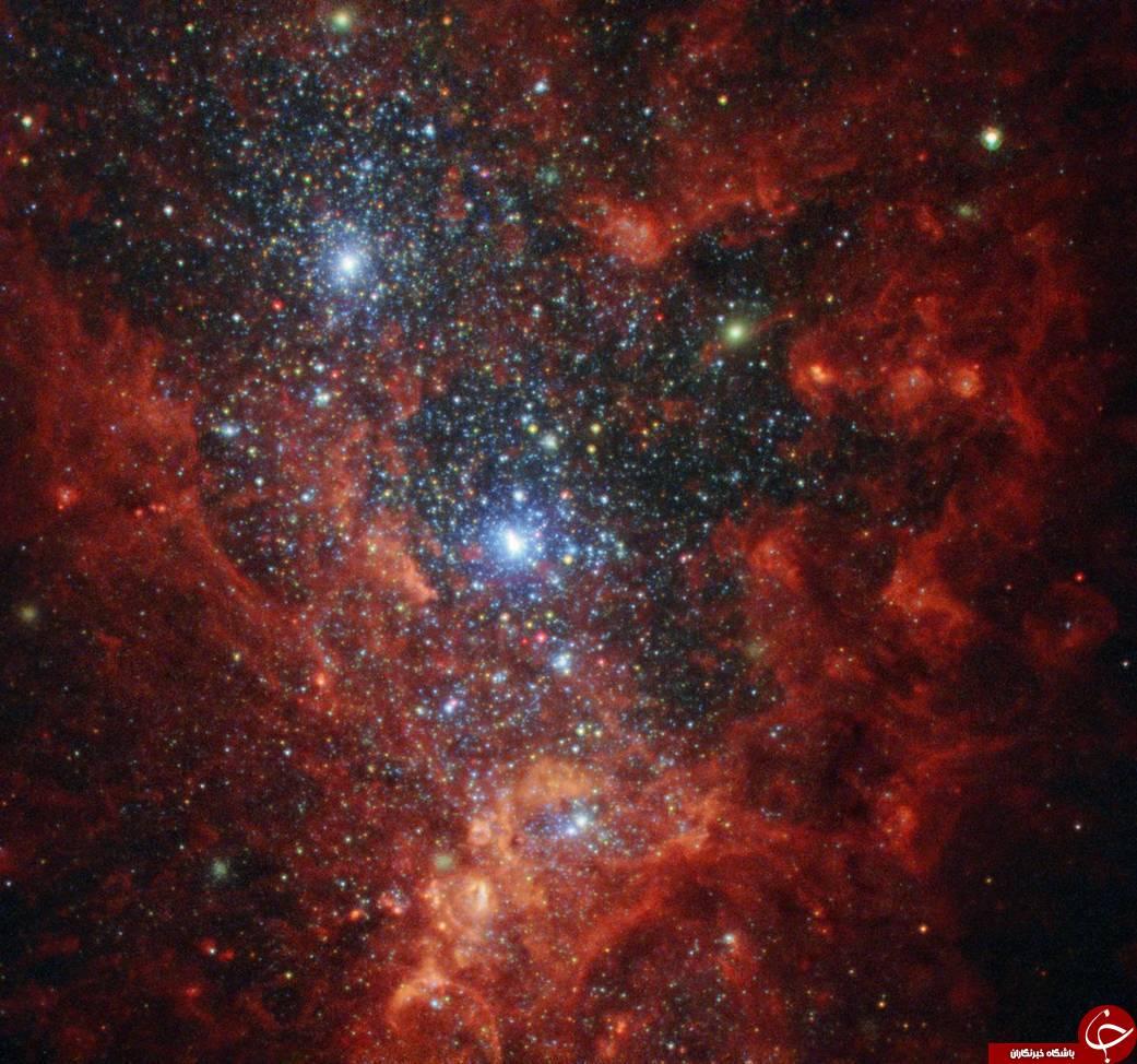 تصویری خیره کننده از کهکشان رنگین کمانی و پر زرق و برق/تصویری زیبا از کهکشانی پر زرق و برق و رنگین کمانی /