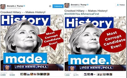 جنجال در عکس کلینتون در کنار پول و ستاره داوود/ ترامپ توئیت را پاک کرد