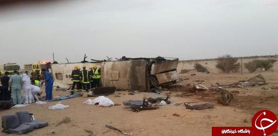 حادثهای دیگر برای عمرهگزاران در عربستان؛ 55 کشته و زخمی در تصادف اتوبوس زائران+ تصاویر