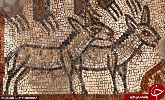 کشف موزاییکهایی با نقاشیهای باستانی در یک عبادتگاه یهودیان +تصاویر