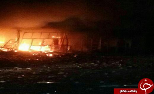فروشگاه زنجیره ای شهرستان سرباز در آتش سوخت+عکس