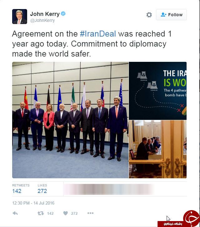 جان کری پس از یک سال از برجام میگوید +توئیت